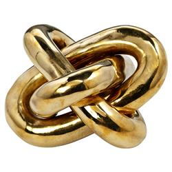 Interlude Wynn Modern Classic Polished Brass Gold Knot Sculpture