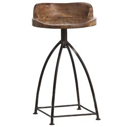 Arteriors Henson Industrial Loft Antique Wood Iron Swivel Counter Stool