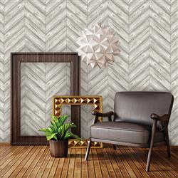 Herringbone Textured Industrial Loft Ash Removable Wallpaper
