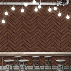 Herringbone Textured Industrial Loft Walnut Removable Wallpaper