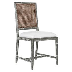 Armande French Country Rustic Grey Caned Bamboo Chair