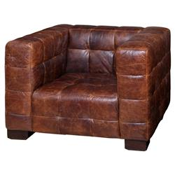 Arthur Rustic Lodge Tufted Leather Cube Accent Club Chair