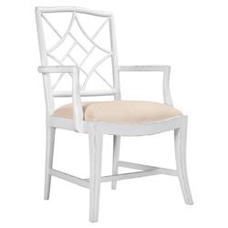 Lombard Hollywood Regency White Rustic Armchair