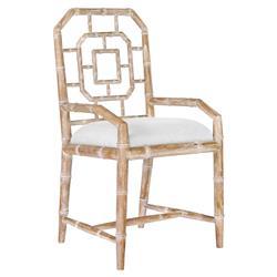 Tierney Hollywood Regency Bamboo Fret Beige Armchair