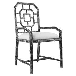 Tierney Hollywood Regency Bamboo Fret Charcoal Armchair