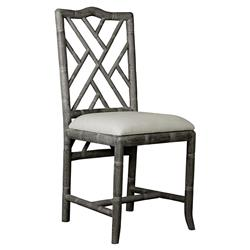 Crain Hollywood Regency Grey Bamboo Fret Oak Dining Chair