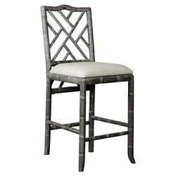 Crain Hollywood Regency Grey Bamboo Fret Oak Counter Stool