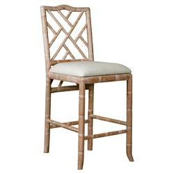 Crain Hollywood Regency Beige Bamboo Fret Oak Counter Stool