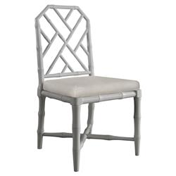 Fontaine Hollywood Regency Grey Bamboo Dining Chair