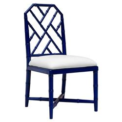 Fontaine Hollywood Regency Blue Bamboo Dining Chair
