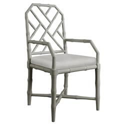 Fontaine Hollywood Regency Grey Bamboo Armchair