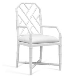 Bungalow 5 Jardin Hollywood Regency White Bamboo Armchair
