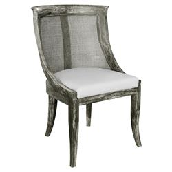 Morel French Country Limed Grey Curved Cane Side Chair