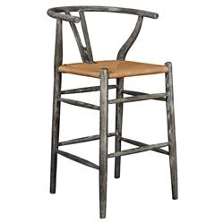 Cable Mid Century Scandinavian Limed Grey Rope Counter Stool