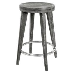 Gerhard Modern Classic Limed Grey Wood Counter Stool