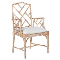 Landis Hollywood Regency Washed Bamboo Arm Chair