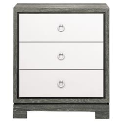 Samuel Modern Silver Grey Lacquer Limed Birch Nightstand
