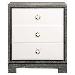 Samuel Modern Bronze Grey Lacquer Limed Birch Nightstand