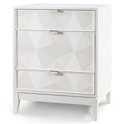 Hal Modern Classic Grooved Geometric White Nightstand