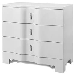 Lorna Modern Classic Silver White Lacquer 3 Drawer Nightstand