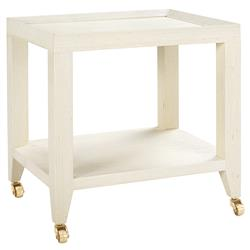 Bungalow 5 Isadora Modern Classic Ivory Grasscloth Rolling Tea Table