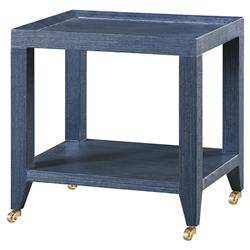 Delen Modern Classic Navy Grasscloth Rolling Tea Table