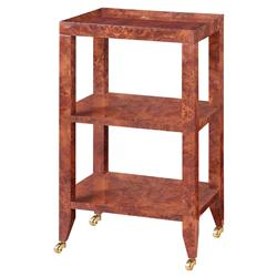 Delen Modern Classic Walnut Tiered Rolling End Table
