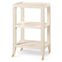 Delen Modern Classic Ivory Grass Cloth Tiered Rolling Side Table
