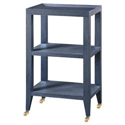 Delen Modern Classic Navy Grass Cloth Tiered Rolling End Table