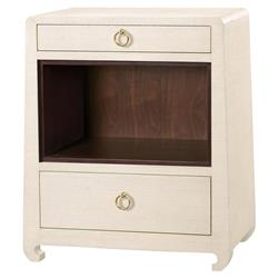 Galen Modern Classic Gold Natural Grass Cloth Nightstand