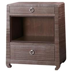 Bungalow 5 Ming Modern Classic Silver Brown Grass Cloth Nightstand