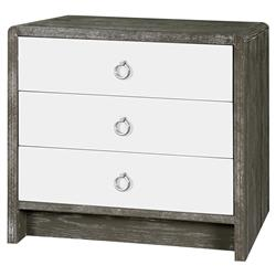 Cale Modern Limed Grey White Lacquer Silver Nightstand