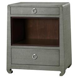 Galen Modern Classic Silver Green Grey Grass Cloth Nightstand