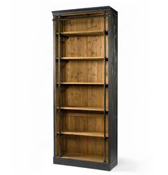 Ashlyn Rustic Lodge Pine Wood Metal Bookcase