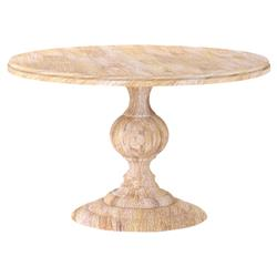 Frida French Country White Wash Round Wood Dining Table 48D