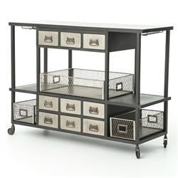 Maverick Industrial Loft Black Metal Antique Bar Cart
