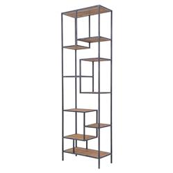 Arnaz Industrial Loft Iron Reclaimed Wood Staggered Shelf Etagere Bookcase