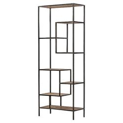 Zane Modern Classic Repurposed Pine Metal Bookcase - 83W