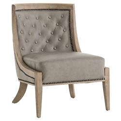Daisy French Country Tuffed Grey Leather Upholstered Wood Occasional Chair