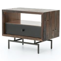 Kroll Rustic Modern Reclaimed Wood Iron Side Table