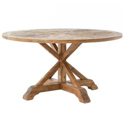 Blaise Rustic French Star Wood Round Dining Table