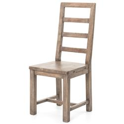 Abram Rustic Ladder Back Ash Wood Dining Chair - Pair