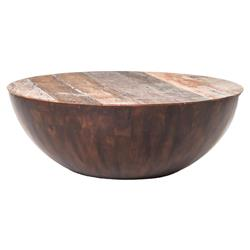 Rod Rustic Pieced Wood Half Moon Round Coffee Table