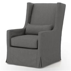 Wilshire Modern Classic Charcoal Swivel Wing Armchair