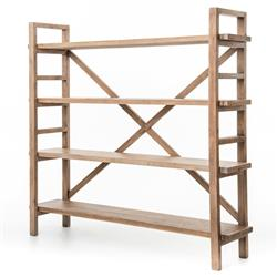Patton Rustic Lodge Reclaimed Wood Open Bookshelf