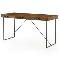 Hugh Rustic Modern Reclaimed Wood Iron Desk