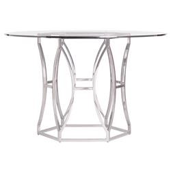 """Marci Hollywood Regency Hexagon Polished Steel Round Dining Table - 48""""W"""