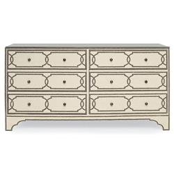 Isabella Hollywood Regency Linen Brass Stud 6 Drawer Nailhead Dresser