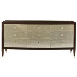 Cliquot Modern Ebony Champagne Nine Drawer Dresser