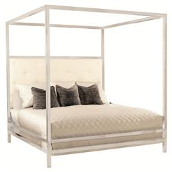 Polly Modern Steel White Leather Four Poster Bed - Queen
